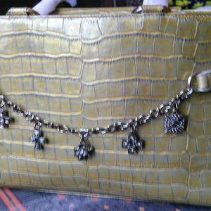 NWOT St. John moc croc chartreuse leather satchel